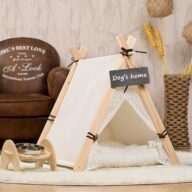 Pet Tent: White Front Lace Dog House Lace Teepee 06-0950 Pet Tents: Pet Teepee Bed House Folding Dog Cat Tents Dog Tent outdoor pet tent