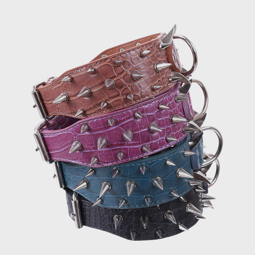 Multicolor Optional Popular Wide Studded PU Leather Spiked Dog Chain Collar Dog Harness: Collar & Pet Harness Factory Multicolor Optional Wide